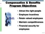 compensation benefits program objectives