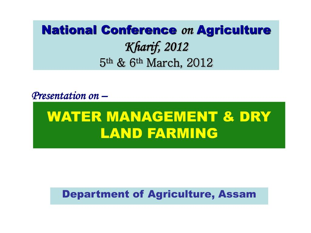 water management dry land farming l.