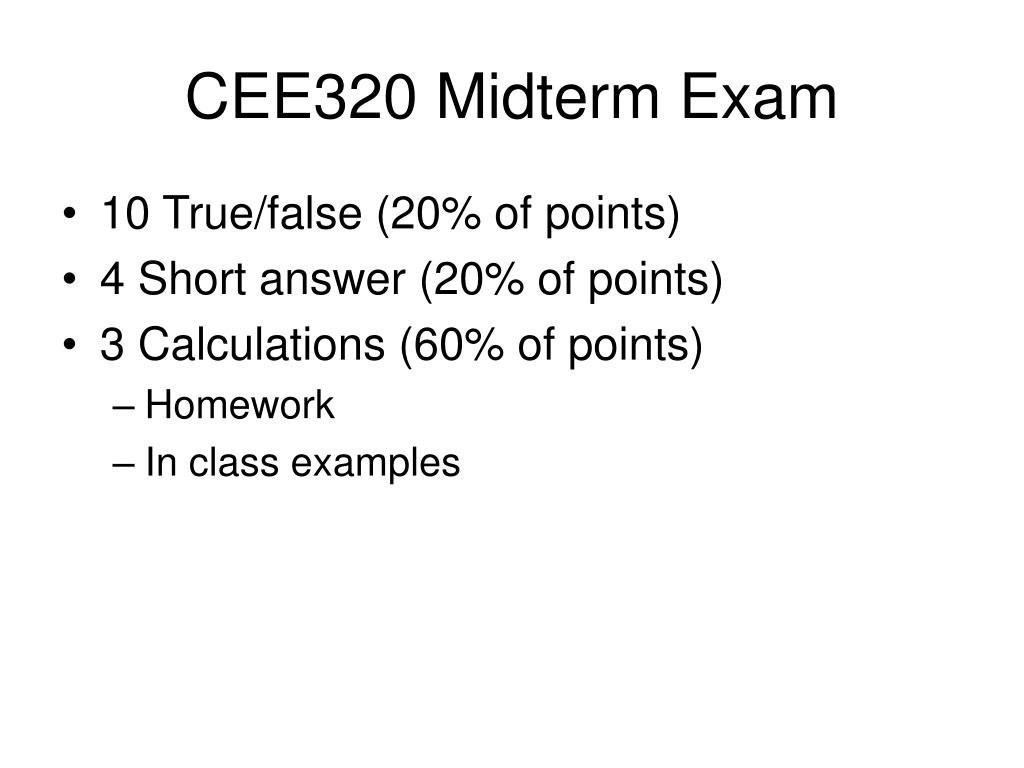 cee320 midterm exam l.