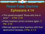 resist false doctrine ephesians 4 14