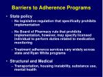 barriers to adherence programs