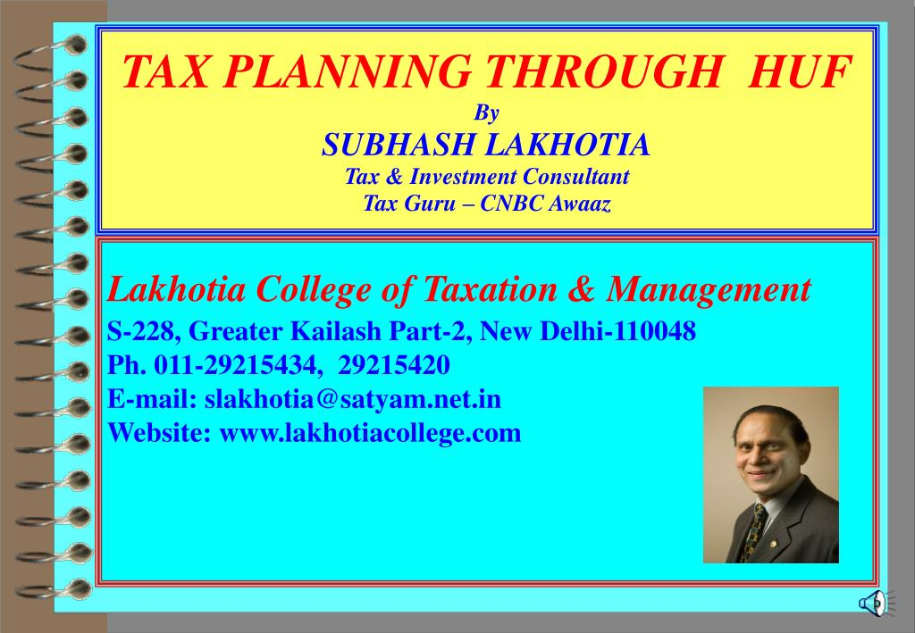tax planning through huf by subhash lakhotia tax investment consultant tax guru cnbc awaaz l.