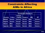 constraints affecting aims in africa