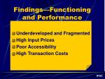 findings functioning and performance