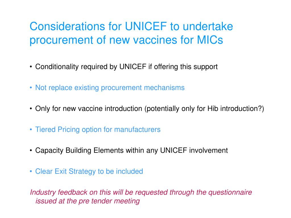 PPT - Pre Tender Meeting UNICEF Supply Division, 10-11 December 2008