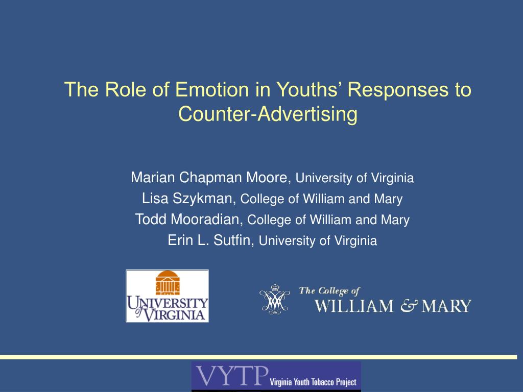 the role of emotion in youths responses to counter advertising l.
