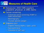 measures of health care