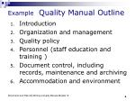 example quality manual outline