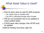 what asset value is used