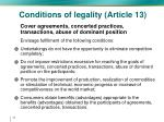 conditions of legality article 1313