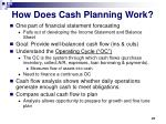how does cash planning work