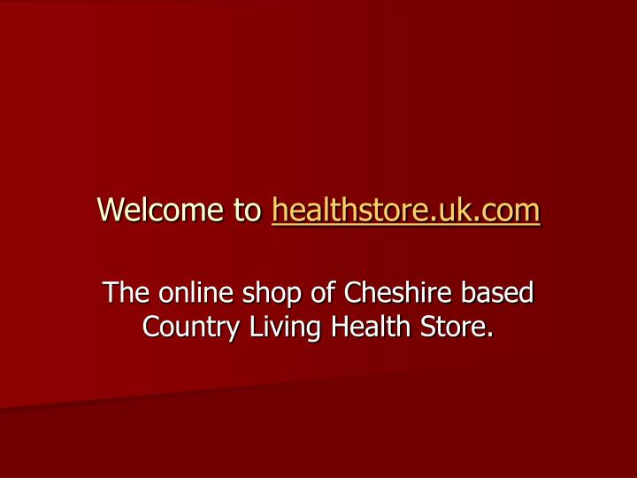 Welcome to healthstore uk com