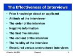 the effectiveness of interviews