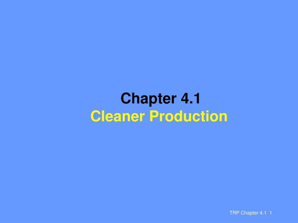 chapter 4 1 cleaner production l.