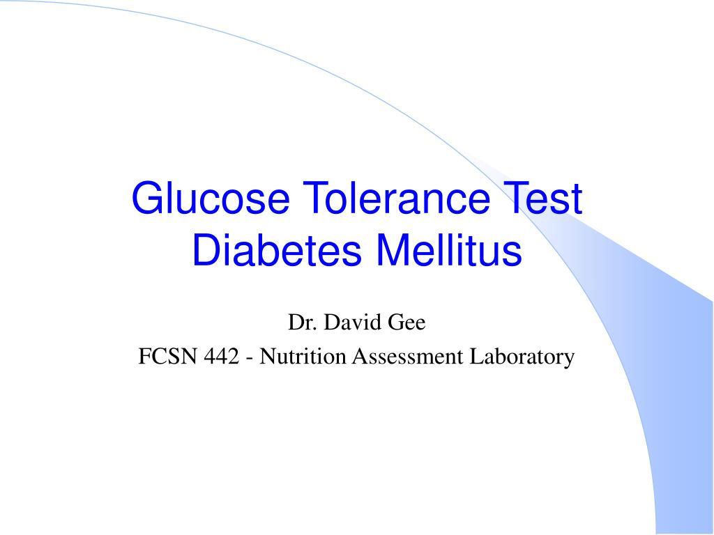 glucose tolerance test diabetes mellitus l.