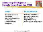 assessing intelligence sample items from the wais