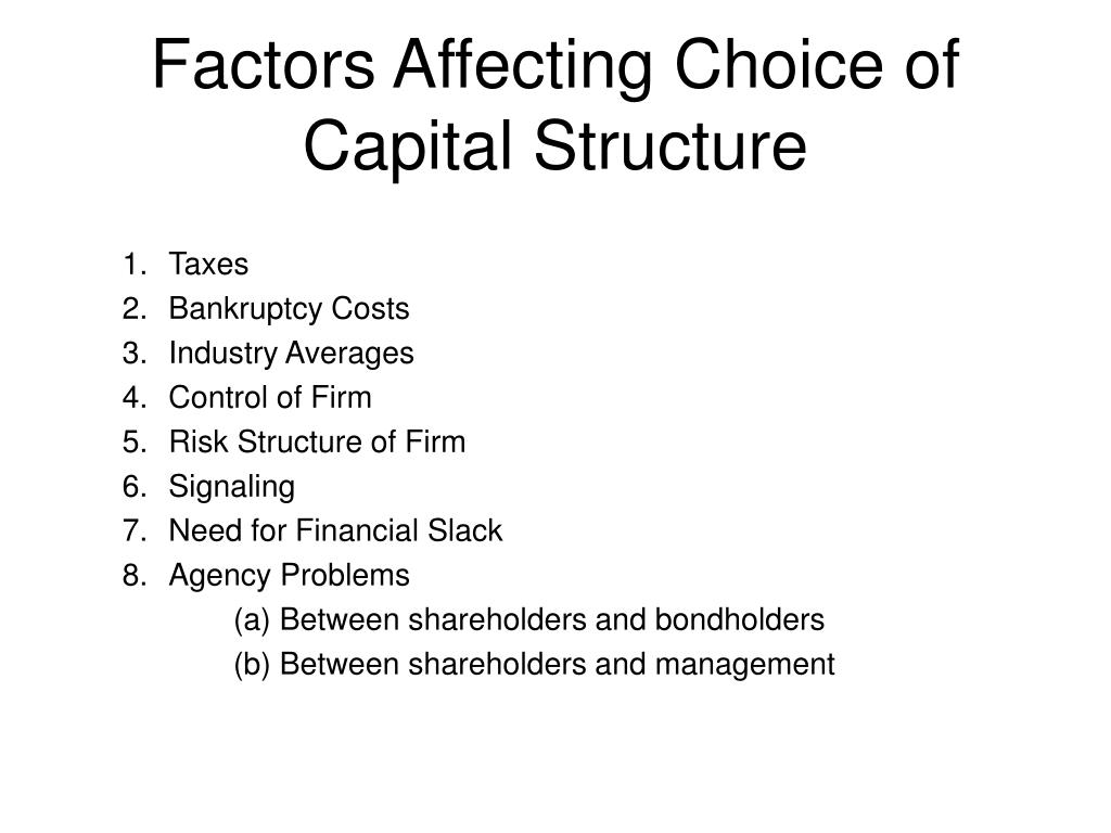 Factors Affecting Choice of Capital Structure