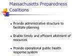 massachusetts preparedness coalitions