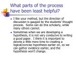 what parts of the process have been least helpful