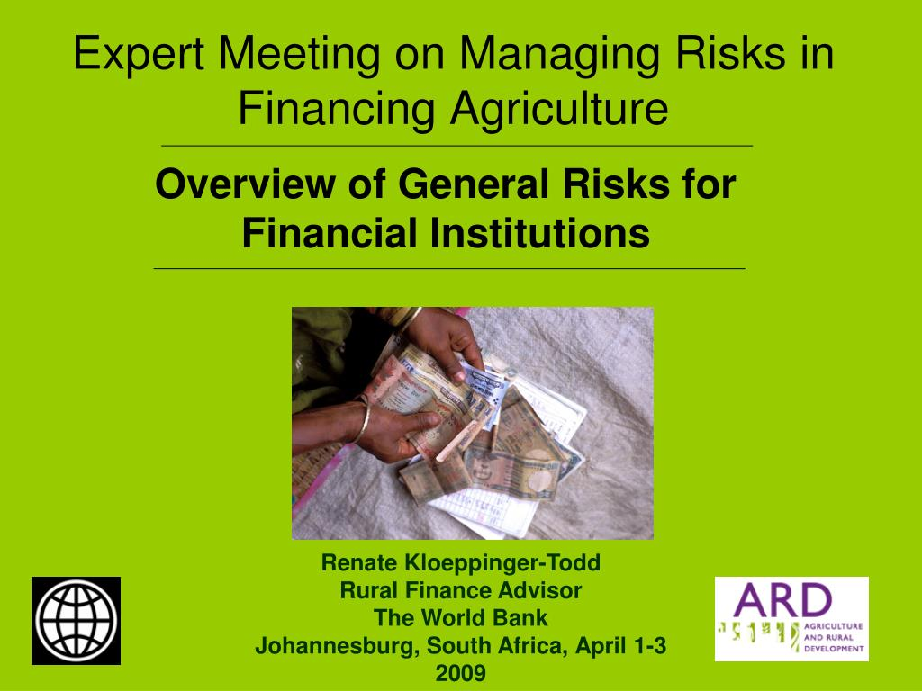 expert meeting on managing risks in financing agriculture l.