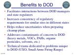 benefits to dod