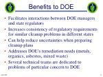benefits to doe