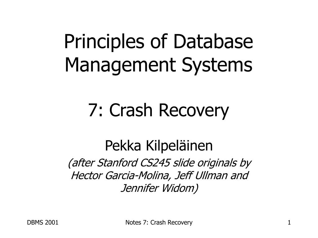 principles of database management systems 7 crash recovery l.