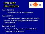deduction descriptions