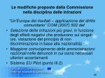 le modifiche proposte dalla commissione nella disciplina delle infrazioni