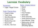 lacrosse vocabulary