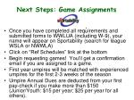 next steps game assignments