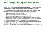 next steps rating certification