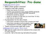 responsibilities pre game