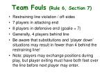team fouls rule 6 section 7
