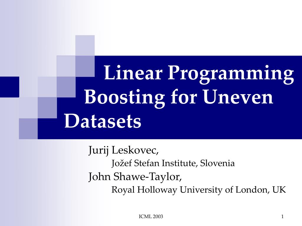 linear programming boosting for uneven datasets l.