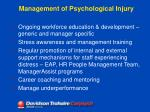 management of psychological injury