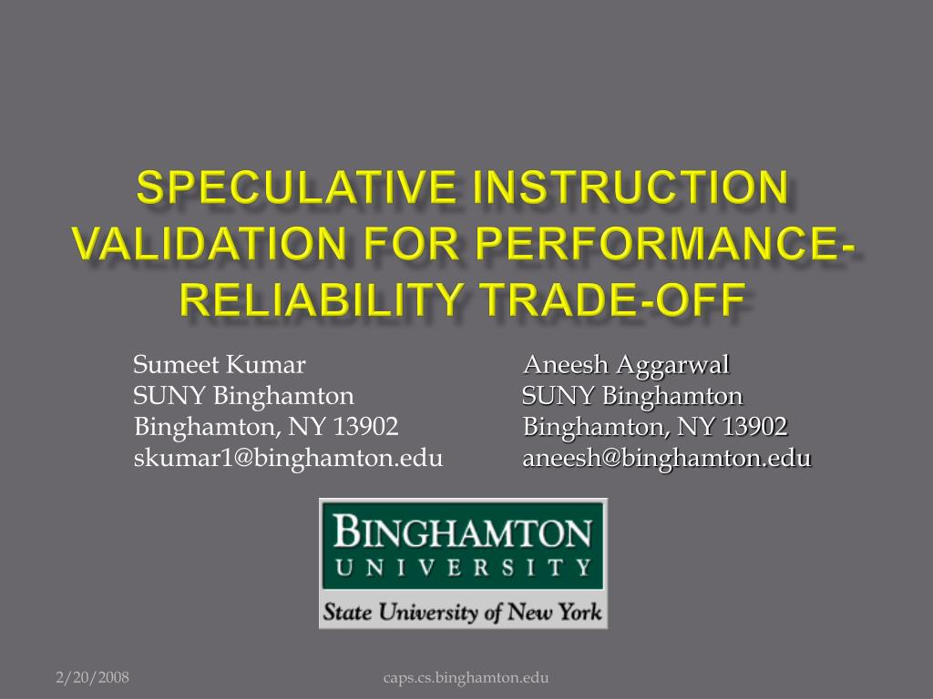 speculative instruction validation for performance reliability trade off l.
