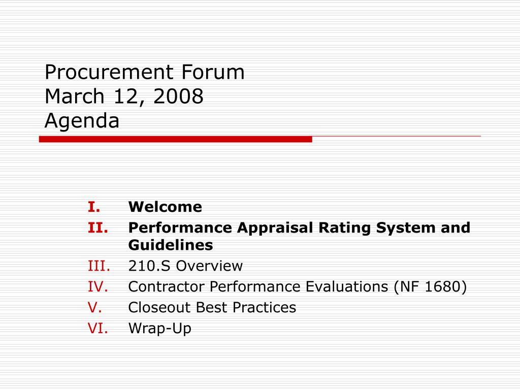 procurement forum march 12 2008 agenda l.