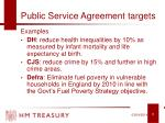 public service agreement targets