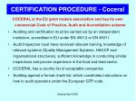 certification procedure coceral