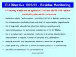 eu directive 1996 23 residue monitoring