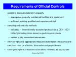 requirements of official controls30