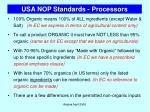 usa nop standards processors