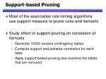 support based pruning