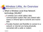 wireless lans an overview