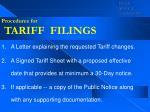 procedures for tariff filings