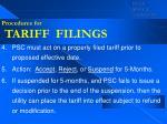procedures for tariff filings36