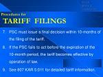 procedures for tariff filings37