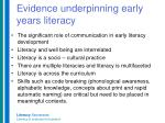 evidence underpinning early years literacy
