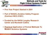 methods and tools for flight critical systems project